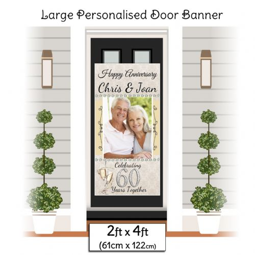 Personalised 60th Diamond Anniversary Door PHOTO Banner Poster ~ N13